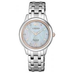 Reloj Citizen Mujer Lady Super Titanium EM0726-89Y Diamantes Madreperla