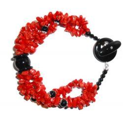 Pulsera de Coral Rojo y Ónix Mujer CR010