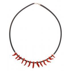 Collar de Coral Rojo y Plata Mujer CR043