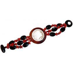 Pulsera de Coral Rojo y Ónix con Camafeo Mujer CR203