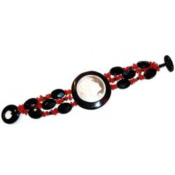 Pulsera de Coral Rojo y Ónix con Camafeo Mujer CR204