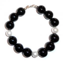 Pulsera de Ónix y Perlas Blancas Mujer CR209