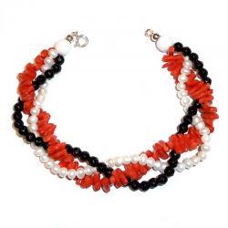 Pulsera de Coral Rojo Ónix y Perlas Blancas Mujer CR210