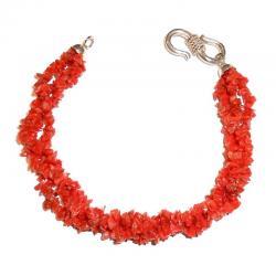 Pulsera de Coral Rojo y Plata Mujer CR213