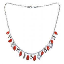 Collar de Coral Rojo y Plata Mujer CR219