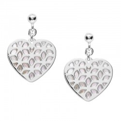 Pendientes Mujer Fossil Sterling Silver JFS00489040 Corazón Madreperla