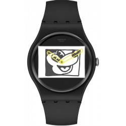Reloj Mickey Mouse Swatch Mickey Blanc Sur Noir SUOZ337